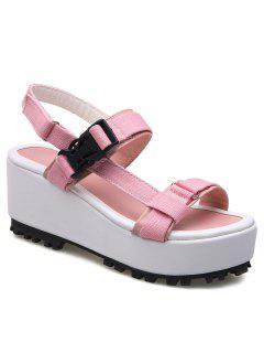 Plastic Buckle Platform Sandals - Pink 39