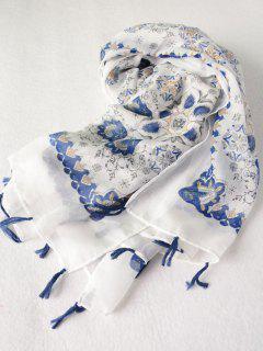 Flower Porcelain Printed Tassel Scarf - Blue