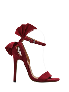 Ankle Strap Mini Heel Flower Sandals - Red 38