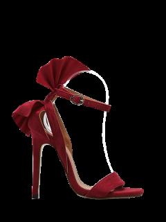 Zapato Con Cierre De Mini Sandalias Del Talón De La Flor - Rojo 38