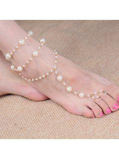 Artificial Pearl Beaded Anklet - Golden