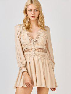 Crochet Panel See Thru Flared Dress - Khaki M