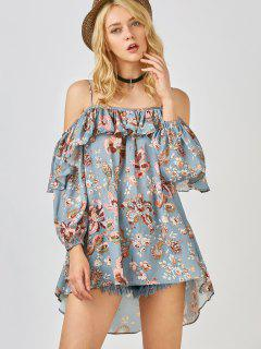 Frilly Printed Cold Shoulder Blouse - Stone Blue M