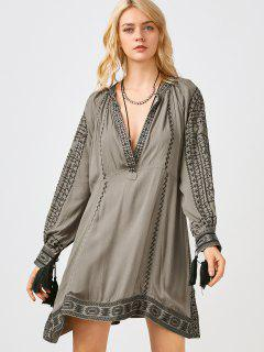 Embroidered Long Sleeve Shift Dress - Dark Khaki L