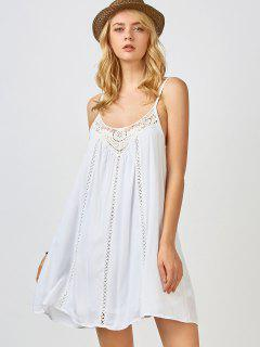 Adjustable Straps Trapeze Slip Dress - White M