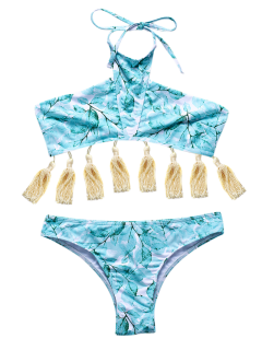 Assortiment De Bikini à Motifs De Feuilles Et Glands - Vert Clair S