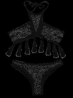 Beaded Halter Tassels Bikini Set - Black S