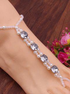 Rhinestone Faux Pearl Elastic Anklet - White
