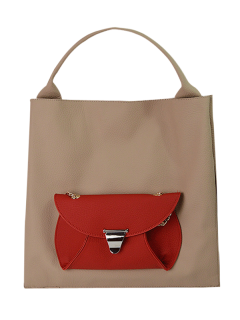 Tote Bag With Removable Envelope Bag - Apricot