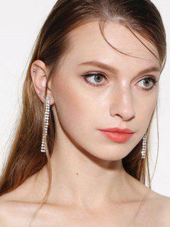 Zircon Strip Drop Earrings - Silver