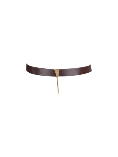 Artificial Leather Bar Choker Necklace - Deep Brown