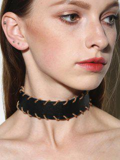 Alloy Artificial Leather Choker Necklace - Black