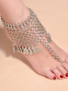 Alloy Coin Fringed Mesh Belly Dance Anklet - Silver