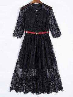 Buttoned Lace Dress With Belt - Black Xl