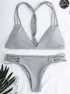 Cutout Strappy Bikini Set - Gray M