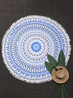 Round Paisley Fringe Beach Throw - Blue