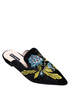 Pointed Toe Embroidered Velvet Flat Shoes - Blue 38