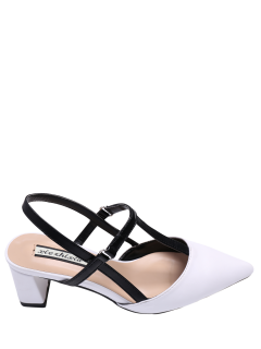 Slingback Chunky Heel T Bar Pumps - White 38