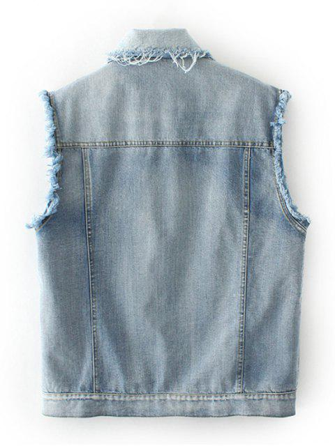 fashion Embroidered Frayed Denim Waistcoat - CLOUDY M Mobile