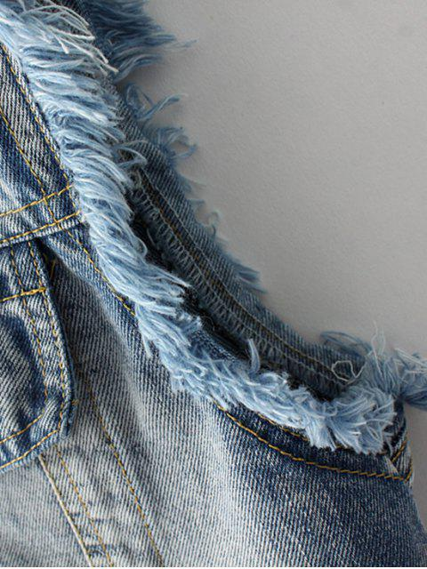 chic Embroidered Frayed Denim Waistcoat - CLOUDY S Mobile