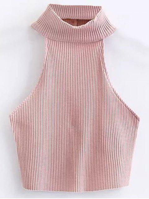 womens Cropped High Neck Ribbed Top - PINK S Mobile