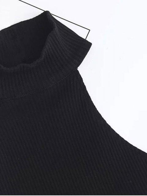 lady Cropped High Neck Ribbed Top - BLACK S Mobile