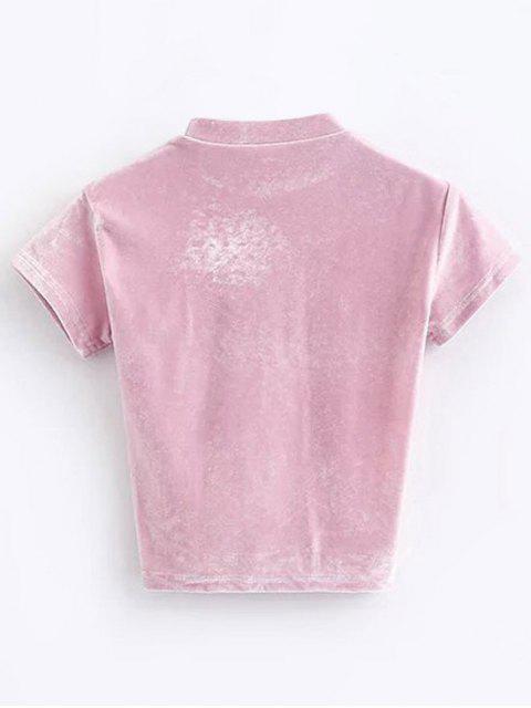 sale Velvet Crew Neck Cropped T-Shirt - PINK M Mobile