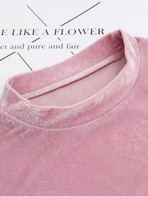 T-shirt court à manches courtes à col marin en velours - Bourgogne S Mobile