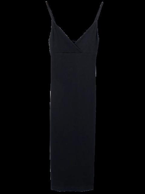 fancy Cami Plunging Neck Surplice Bodycon Dress - BLACK M Mobile