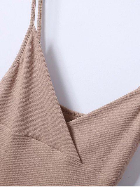 Robe surplis camisole ajustée à col plongeant - Gris Clair S Mobile
