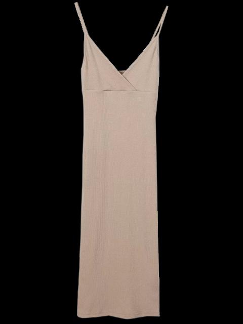 ladies Cami Plunging Neck Surplice Bodycon Dress - CAMEL M Mobile
