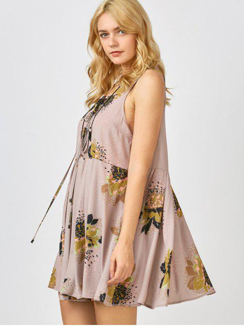 shop Printed Tie Up Plunge Sundress - PALE PINKISH GREY S Mobile