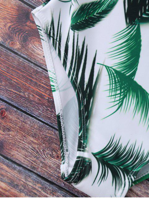 best Crisscross Leaf Print Swimwear - WHITE S Mobile
