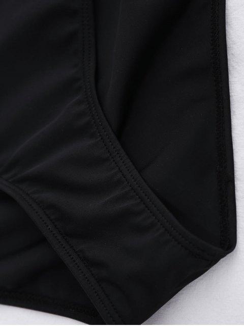 latest Off The Shoulder Flounced One-Piece Swimwear - BLACK L Mobile