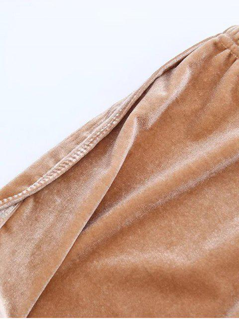 shop Sporty Velvet Shorts - GRAY M Mobile