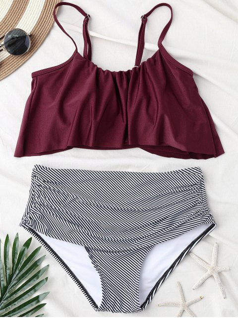 ladies Stripe Panel High Waisted Bikini Set - WINE RED L Mobile