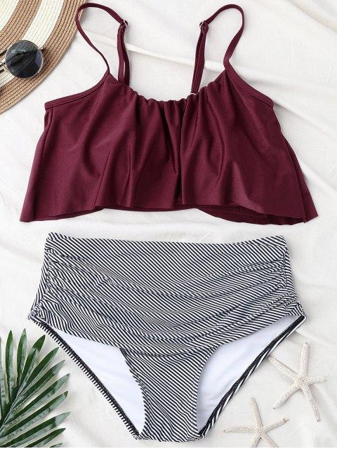 Streifen Panel Hohe Taille Bikini Set - Weinrot M Mobile