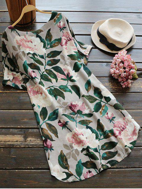 affordable Casual Floral A-Line Dress - GREEN S Mobile
