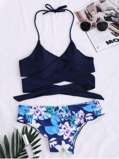 Traje de Bikini con Panel Floral con Cordón - Azul Purpúreo M Mobile