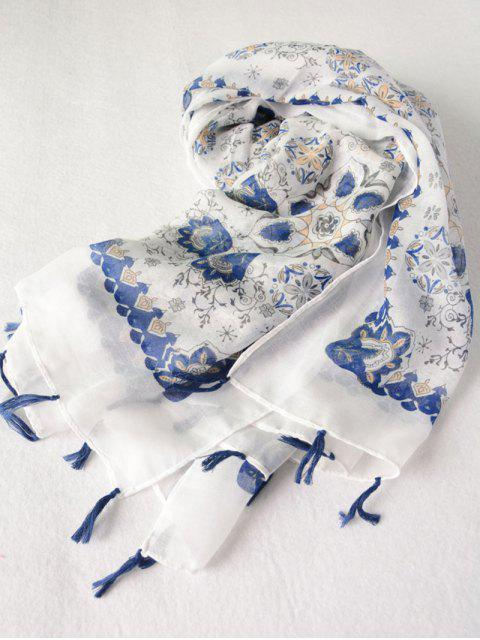 chic Flower Porcelain Printed Tassel Scarf - BLUE  Mobile