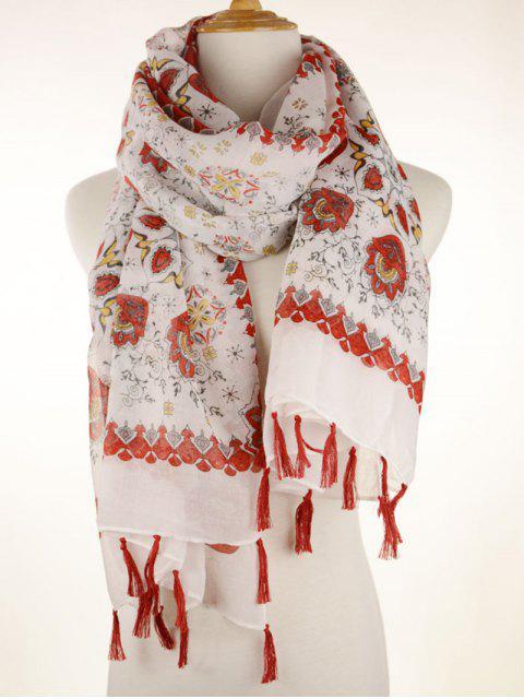 Charpe frangée imprimé floral porcelaine - Rouge  Mobile
