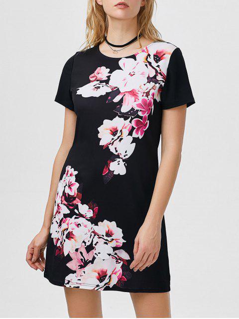Blumenmuster-Kleid - Schwarz L Mobile