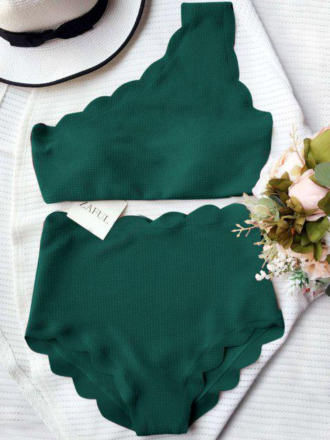 affordable High Waisted Scalloped One Shoulder Bikini - BLACKISH GREEN L Mobile