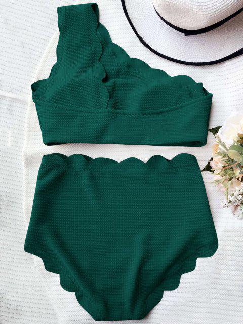 buy High Waisted Scalloped One Shoulder Bikini - BLACKISH GREEN M Mobile