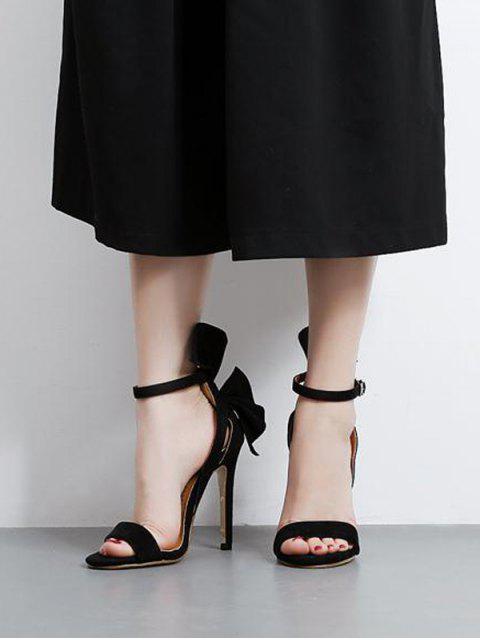 latest Ankle Strap Mini Heel Flower Sandals - BLACK 37 Mobile