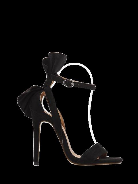 trendy Ankle Strap Mini Heel Flower Sandals - BLACK 38 Mobile