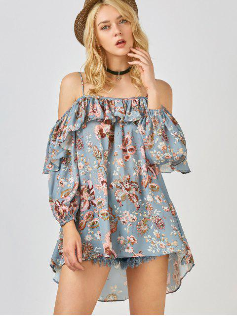 lady Frilly Printed Cold Shoulder Blouse - STONE BLUE M Mobile