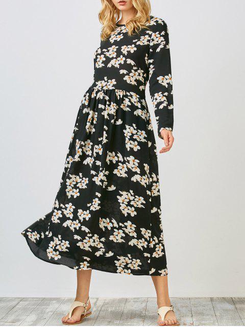 Robe sarrau florale mi-longue à manches longues - Noir L Mobile