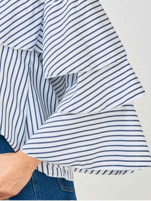 women's Frilly Off The Shoulder Top - BLUE AND WHITE XL Mobile