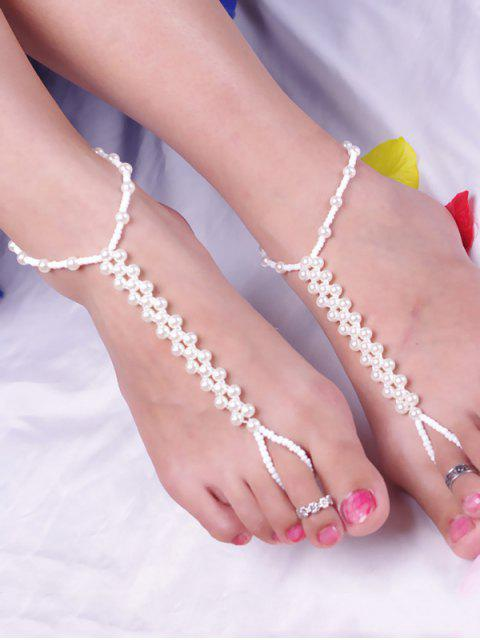 buy Artificial Pearl Beaded Anklet - WHITE  Mobile